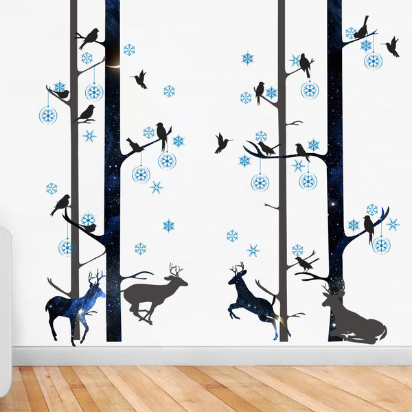 Beautiful Birds and Deers Fashion Designed Removed Vinyl Wall Sticker Black and Blue Wall Sticker House Decoration Wall Decoration - Raylinedo