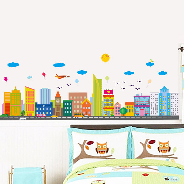 Cartoon City Fashion Designed Removed Vinyl Wall Sticker Lovely Buildings Wall Sticker House Decoration Wall Decoration - Raylinedo