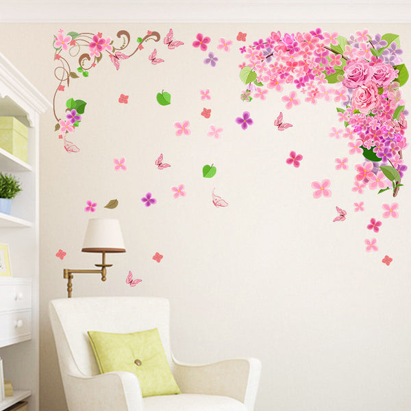 Flower Vine Removable Wall Stickers Window Sticker Art Decals Mural DIY Wallpaper for Room Decal 70*100CM - Raylinedo