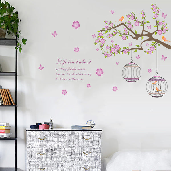 Birdcages And Vines Removable Wall Stickers Window Sticker Art Decals Mural DIY Wallpaper for Room Decal - Raylinedo