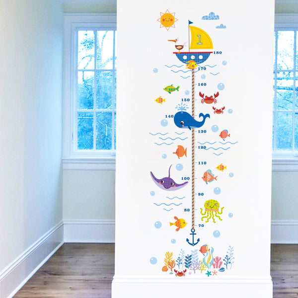 Marine Animal Height Sticker Removable Wall Stickers Window Sticker Art Decals Mural DIY Wallpaper for Room Decal - Raylinedo