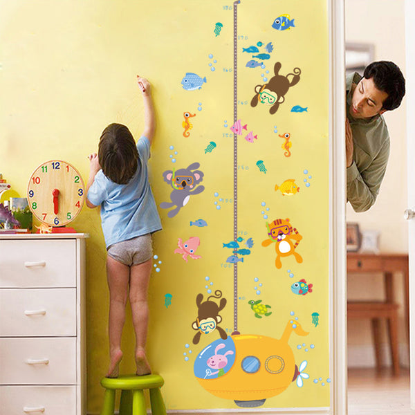Diving Animal Height Sticker Removable Wall Stickers Window Sticker Art Decals Mural DIY Wallpaper for Room Decal - Raylinedo