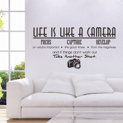 """Life is like a Camera"" wall quote art sticker decal for home bedroom decor corp office wall - Raylinedo"