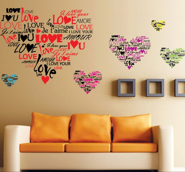 Heart Shape Multi Hearts DIY Wall Stickers Removable Art Vinyl Quote Wall Sticker Decal Mural Home Room Wall Decoration -ZYPB-7124-NN - Raylinedo