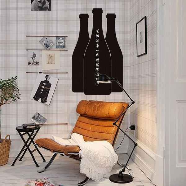 Fashion Designed 3 Bottles Shaped Removed Vinyl Blackboard Sticker Black Color Note Wall Sticker Kitchen Decoration Decoration Bar Decoration -ZYVA-219 - Raylinedo