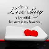 Love Story Quote Stickers DIY Wall Stickers Quotes Wall Stickers Removable Art Vinyl Quote Wall Sticker Decal Mural Home Room Wall Decoration -ZYVA-8145-NA - Raylinedo