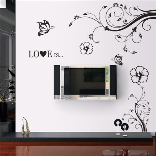 Diagonal Flower Vine Removable Wall Stickers Window Sticker Art Decals Mural DIY Wallpaper for Room Decal L - Raylinedo