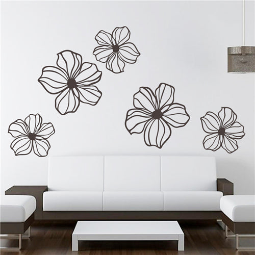 A Lotus Flower Removable Wall Stickers Window Sticker Art Decals Mural DIY Wallpaper for Room Decal 57*57CM - Raylinedo