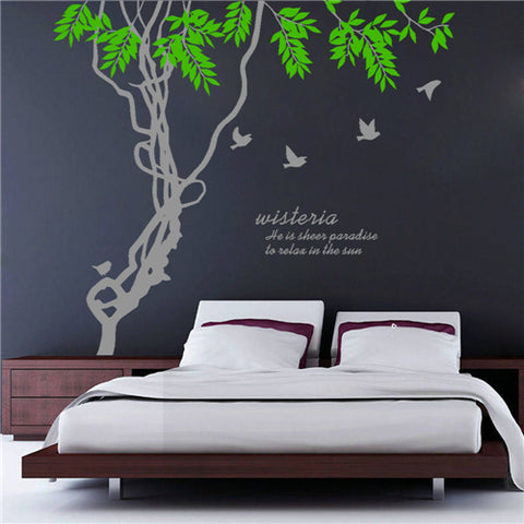 Brid Lvy League Branch Removable Wall Stickers Window Sticker Art Decals Mural DIY Wallpaper for Room Decal 210*188CM - Raylinedo