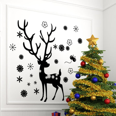 Merry Christmas The Black Christmas Deer With Flowers Removable Wall Stickers Window Sticker Art Decals Mural DIY Wallpaper for Room Decal 98*88CM - Raylinedo