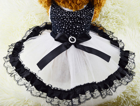 Pet Dog Studded Lace Princess Wedding Dress Clothes Apparel For Small Dogs - Raylinedo