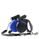2 In 1 Multi-function 5M Length Automatic Retractable/Extendable Lightweight Pet Dog Leash With Dismountable LED Torch Safe Design - Raylinedo
