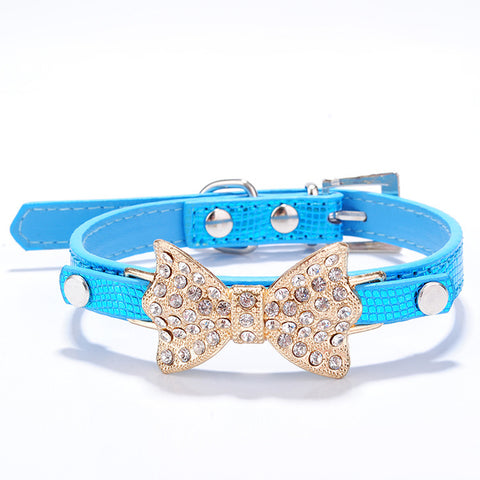 Bling Rhinestone Bowknot Design Pet Collar Durable PU Leather Collar Necklace With Adjustable Buckle - Raylinedo