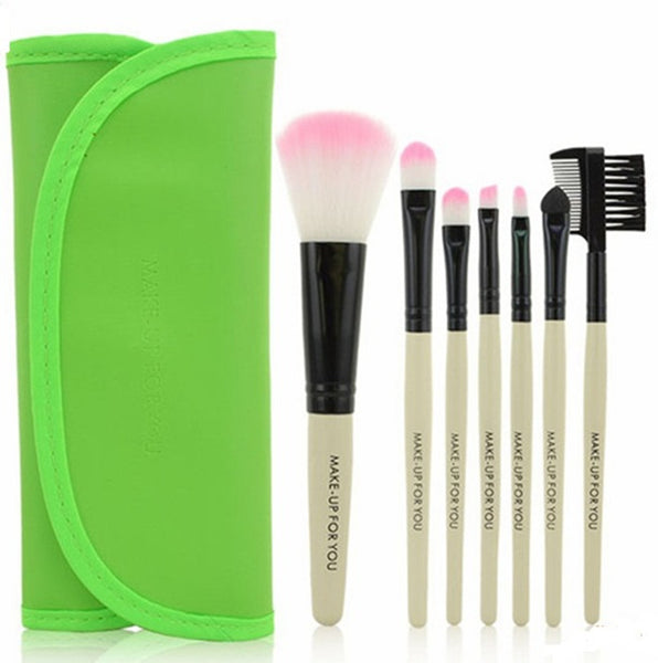 7PCS High Quality Stylish Professional Sabel Makeup Tools Cosmetic Brushes Kit Set Wood Handle With Cosmetic Bag - Raylinedo