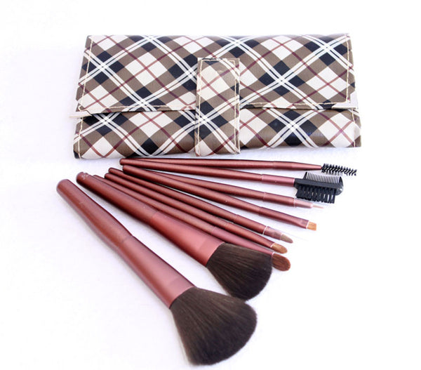 9PCS High Quality Stylish Professional Sabel Makeup Tools Cosmetic Brushes Kit Set Wood Handle With Cosmetic Bag - Raylinedo