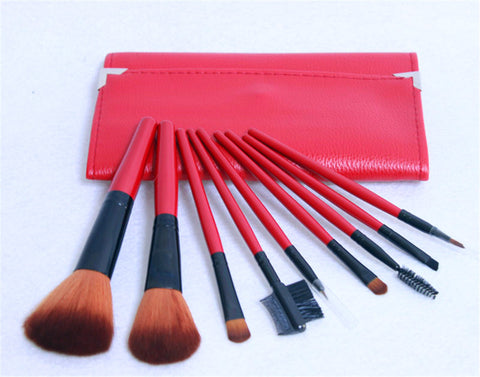 9PCS High Quality Stylish Professional Nylon Hair Makeup Tools Cosmetic Brushes Kit Set Red Wooden Handle With PU Cosmetic Bag - Raylinedo
