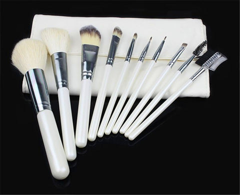 10PCS High Quality Stylish Professional Synthetic Makeup Tools Cosmetic Brushes Kit Set White Wooden Handle and Sliver Aluminium Holder With Cosmetic Bag - Raylinedo