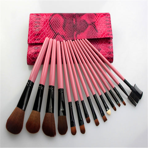 15PCS High Quality Stylish Professional Wool Makeup Tools Cosmetic Brushes Kit Set Pink Wooden Handle With PU Cosmetic Bag - Raylinedo