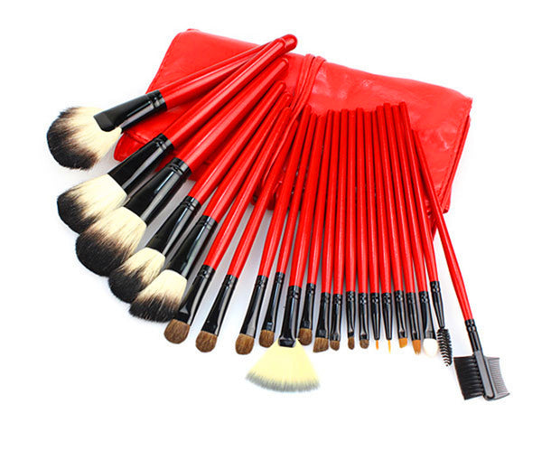 22PCS High Quality Stylish Professional Sabel Makeup Tools Cosmetic Brushes Kit Set Red Wood Handle With Cosmetic Bag - Raylinedo