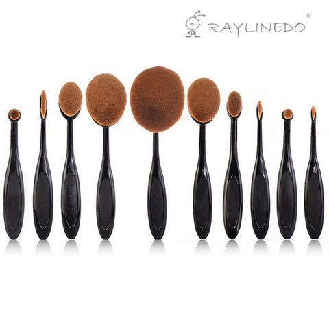 10PCS Professional Soft Oval Toothbrush Shaped Makeup Brush Set Foundation Eyeliner Liquid Cream Powder Eyebrow Make up Brushes Cosmetic Tools With Case Box - Raylinedo