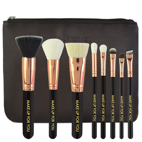 8PCS High Quality Stylish Professional Sabel Makeup Tools Cosmetic Brushes Kit Set Wood Handle With Cosmetic Bag CSZU21-CBM-01 - Raylinedo