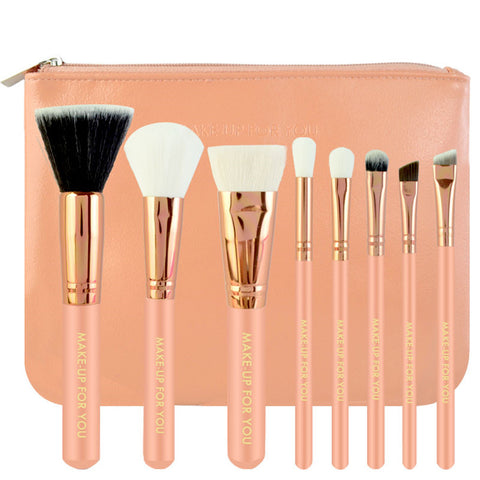 8PCS High Quality Stylish Professional Sabel Makeup Tools Cosmetic Brushes Kit Set Wood Handle With Cosmetic Bag CSZU21-CBM08-2 - Raylinedo