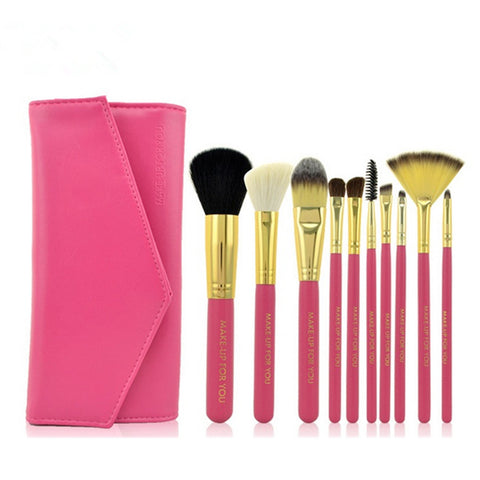 10PCS High Quality Stylish Professional Sabel Makeup Tools Cosmetic Brushes Kit Set Wood Handle With Cosmetic Bag - Raylinedo
