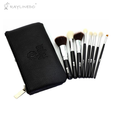 8 Pieces Professional Soft Makeup Brush Set Foundation Eyeliner Liquid Cream Powder Eyebrow Make up Brushes Cosmetic Tool Black Color with Bag - Raylinedo