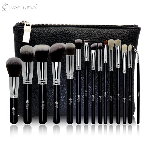 15PCS Professional Soft Makeup Brush Set Foundation Eyeliner Liquid Cream Powder Eyebrow Make up Brushes Cosmetic Tool Black Color with Bag - Raylinedo