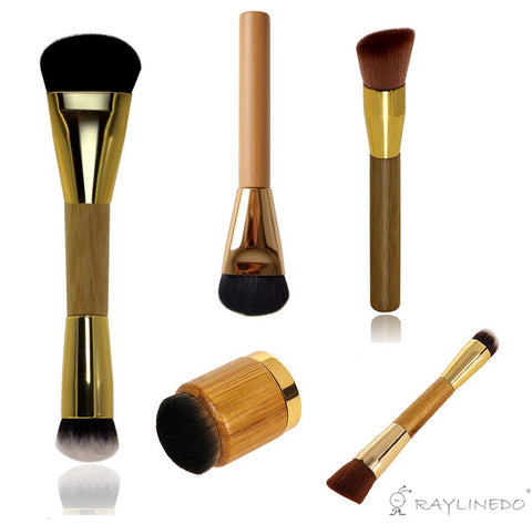 5PCS Professional Soft Makeup Brush Bamboo Handle Foundation Brush Concealer Brush Paste Brush Make up Brushs Cosmetic Tool - Raylinedo