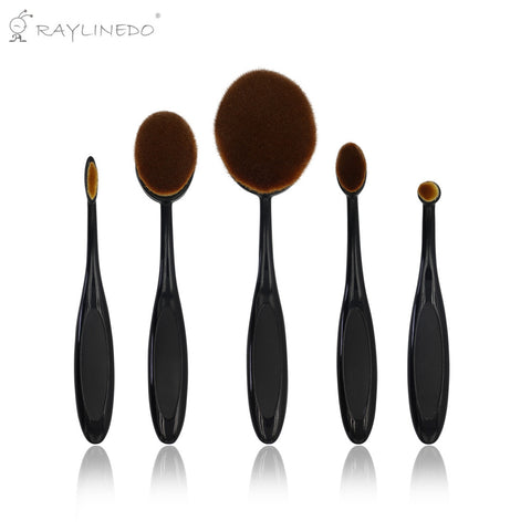 5PCS Professional Soft Oval Toothbrush Shaped Makeup Brush Set Foundation Eyeliner Liquid Cream Powder Eyebrow Make up Brushes Cosmetic Tool - Raylinedo