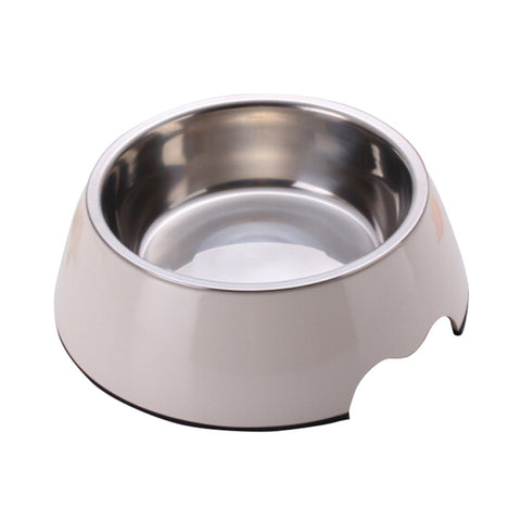2 in 1 Melamine Plastic Stainless Steel Non Skid Dog Puppy Cat Pet Bowl Pet Feeding Watering Supplies - Raylinedo