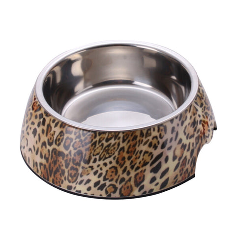 Leopard 2 in 1 Melamine Plastic Stainless Steel Non Skid Dog Puppy Cat Pet Bowl Pet Feeding Watering Supplies - Raylinedo