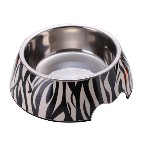 Zebra 2 in 1 Melamine Plastic Stainless Steel Non Skid Dog Puppy Cat Pet Bowl Pet Feeding Watering Supplies