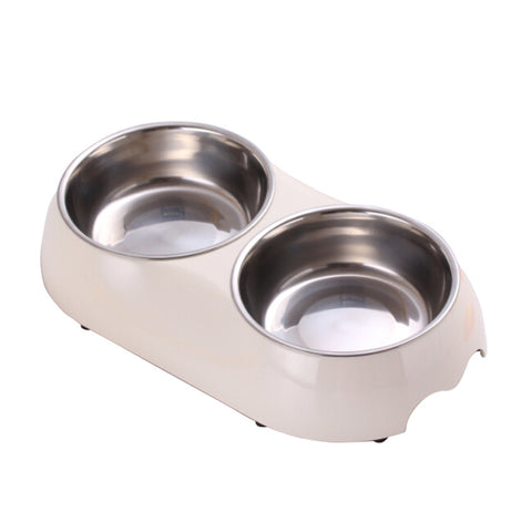Double 2 in 1 Melamine Plastic Stainless Steel Non Skid Dog Puppy Cat Pet Bowl Pet Feeding Watering Supplies - Raylinedo