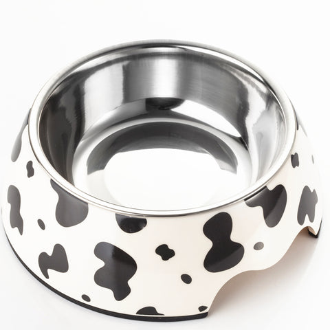 2 in 1 Cow Pattern Melamine Plastic Stainless Steel Non Skid Dog Puppy Cat Pet Bowl Pet Feeding Watering Supplies - Raylinedo