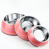 Circles 2 in 1 Melamine Plastic Stainless Steel Non Skid Dog Puppy Cat Pet Bowl Pet Feeding Watering Supplies - Raylinedo
