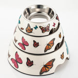 Butterfly Pattern Melamine Plastic Stainless Steel Non Skid Dog Puppy Cat Pet Bowl Pet Feeding Watering Supplies - Raylinedo