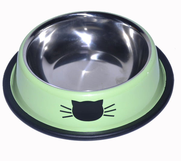 Cat Pattern Melamine Plastic Stainless Steel Non Skid Dog Puppy Cat Pet Bowl Dinner Dish Feeding Watering Supplies - Raylinedo