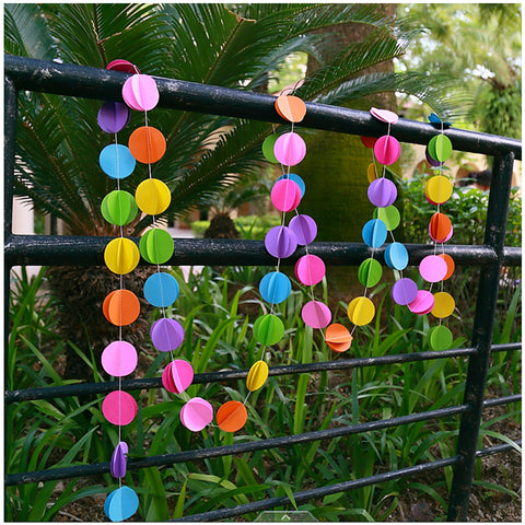 Multi Color Paper Garland For Wedding Birthday Anniversary Party Christmas Girls Room Decoration Round Shape3D - Raylinedo