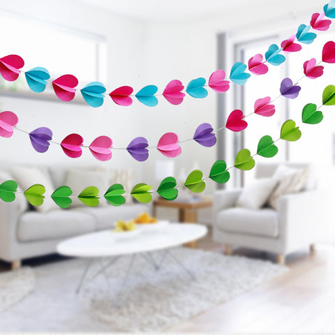 Multi Color Paper Garland For Wedding Birthday Anniversary Party Christmas Girls Room Decoration Heart Shape3D - Raylinedo
