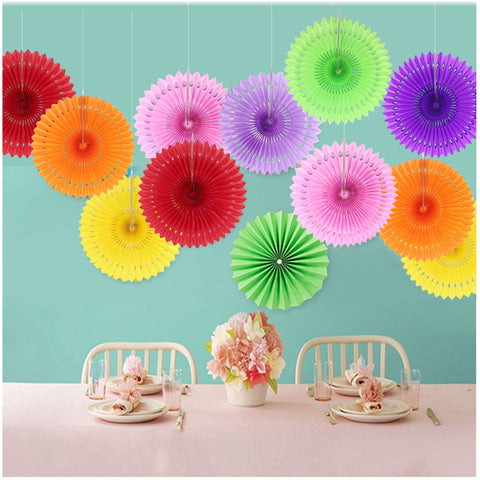 3 pieces Tissue Paper Fan For Wedding Birthday Anniversary Party Christmas Girls Room Decoration - Raylinedo