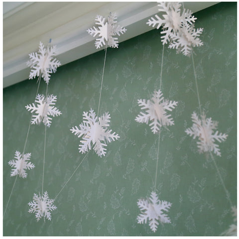 White Paper Garland For Wedding Birthday Anniversary Party Christmas Girls Room Decoration Snow Shape