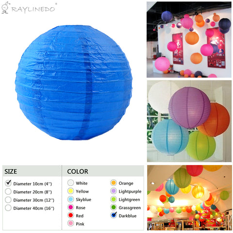 Pack of 3PCS Darkblue Paper Lanterns For Wedding Birthday Anniversary Party Christmas Girls Room Decoration - Raylinedo