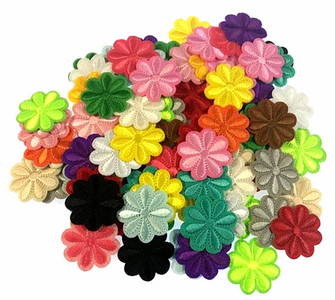 100PCS Assorted Color Small Flower Patch Stickers Embroidery Badge Iron On Applique Patch for Bags Jackets Tablecloth Bedsheets - Raylinedo