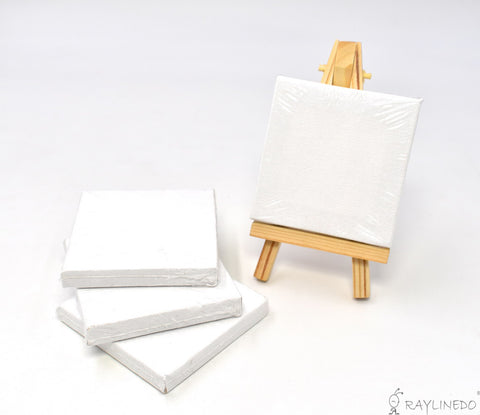 4pcs Mini Artist Blank Canvas Frame 3x3inch ( 7x7cm ) Oil Water Painting Board Flat Canvas with 1pc Mini Wood Display Easel - Raylinedo