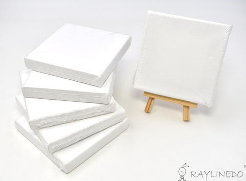 6pcs Mini Artist Blank Canvas Frame 4x4inch ( 10x10cm ) Oil Water Painting Board Flat Canvas with 1pc Mini Wood Display Easel - Raylinedo