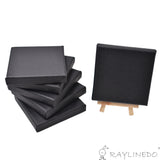 6pcs Mini Artist Black Canvas Frame 4x4inch ( 10x10cm ) Oil Water Painting Board Flat Canvas with 1pc Mini Wood Display Easel - Raylinedo