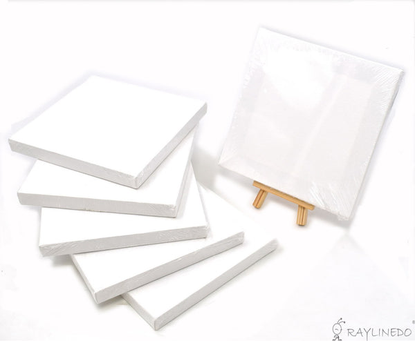 6pcs Mini Artist Blank Canvas Frame 6x6inch ( 15x15cm ) Oil Water Painting Board Flat Canvas with 1pc Mini Wood Display Easel - Raylinedo