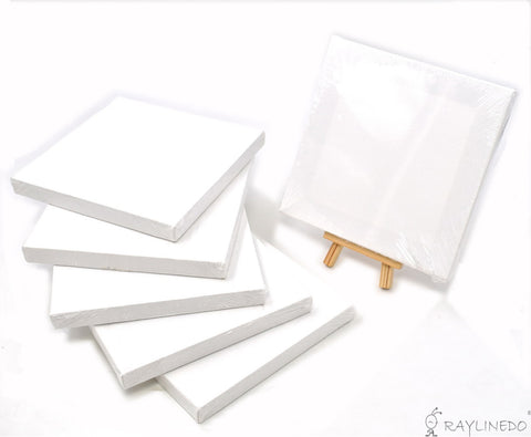 Set of 6pcs Mini Artist Blank Canvas Frame 6x6inch ( 15x15cm ) Oil Water Painting Board Flat Canvas with 1pc Mini Wood Display Easel - Raylinedo